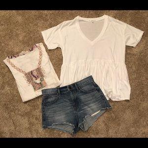 2 small tops and size 4 cutoff Jean shorts outfit